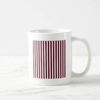 Dünne Streifen - weiß und dunkles Scharlachrot Kaffeetasse