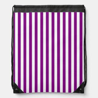 Dünne Streifen - weiß und lila Turnbeutel