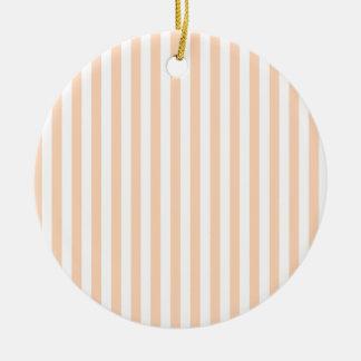 Dünne Streifen - weiß und tiefer Pfirsich Rundes Keramik Ornament
