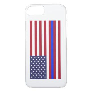 """""""DÜNNES BLUE LINE auf FLAGGE """" iPhone 8/7 Hülle"""