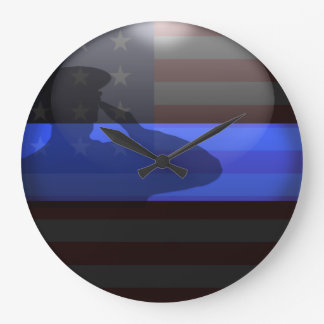 Dünnes Blue Line - Flaggen-Gruß Große Wanduhr