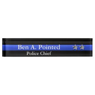 Dünnes Blue Line - Stern-Rang des Leiter-zwei Schreibtischplakette