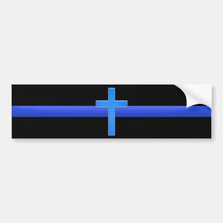 Dünnes Blue Line u. Kreuz Autoaufkleber