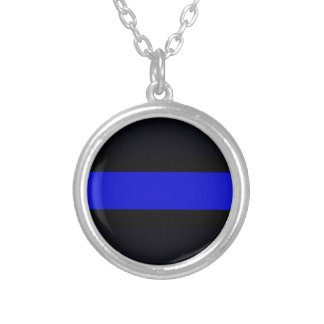Dünnes überzogene Halskette Blue Lines Silber