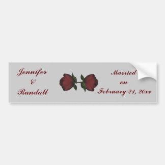 """Duo de rose rouge de """"anniversaire/date de mariage autocollant de voiture"""