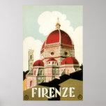 Duomo vintage d'église de Florence Firenze Italie  Affiche