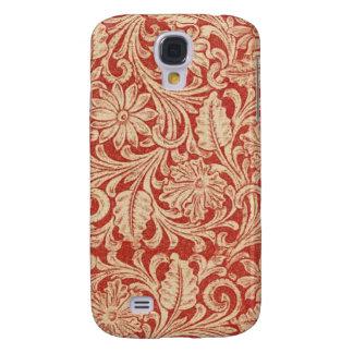 Dur vif floral du rouge HTC de damassé vintage