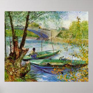 Durch Vincent van Gogh im Frühjahr fischen Poster