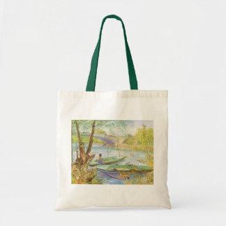 Durch Vincent van Gogh im Frühjahr fischen Tragetasche