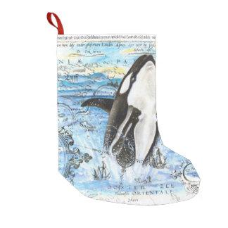 Durchbrechen der Schwertwal-alten Karte Kleiner Weihnachtsstrumpf