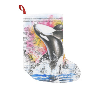 Durchbrechen Orca-Wal-des Vintagen Kleiner Weihnachtsstrumpf