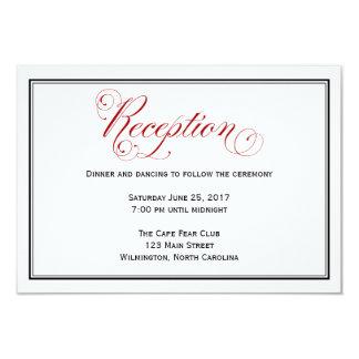 Durchdachte rote Hochzeits-Empfangs-Einzelkarte Karte