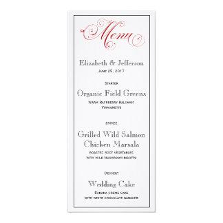 Durchdachte rote Hochzeits-Menü-Karte Karte