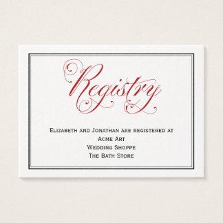 Durchdachte rote Skript-Hochzeits-Register-Karte Visitenkarte