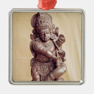 Durga, von Südindien Quadratisches Silberfarbenes Ornament