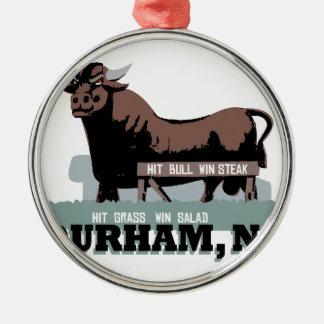 Durham NC Stier Rundes Silberfarbenes Ornament