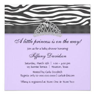Dusche DiamantTiaralila Zebra-Prinzessin-Baby Quadratische 13,3 Cm Einladungskarte