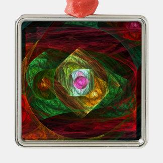 Dynamische Verbindungs-abstraktes Kunst-Quadrat Quadratisches Silberfarbenes Ornament