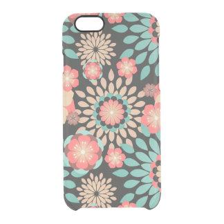 Dynamisches blühendes Blumenmuster auf dunklem Durchsichtige iPhone 6/6S Hülle