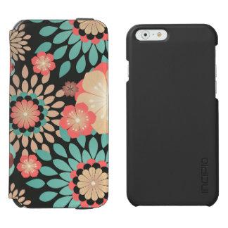 Dynamisches blühendes Blumenmuster auf dunklem Incipio Watson™ iPhone 6 Geldbörsen Hülle