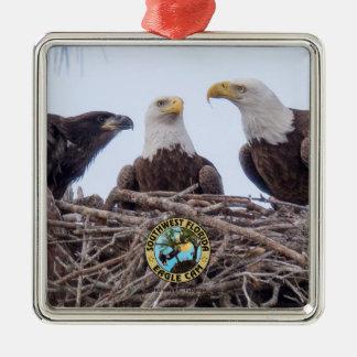 E9 u. Familien-Feiertags-Verzierung Quadratisches Silberfarbenes Ornament
