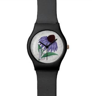 E für Echinacea-Blumen-Monogramm Uhr