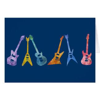E-Gitarren in den elektrischen Farben Grußkarte
