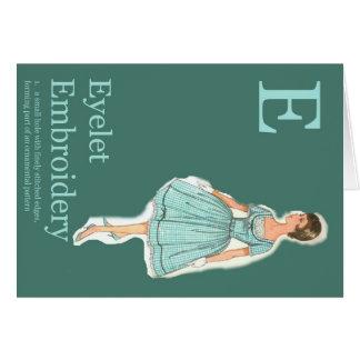 E ist für Ösen-Mode-Alphabet Karte