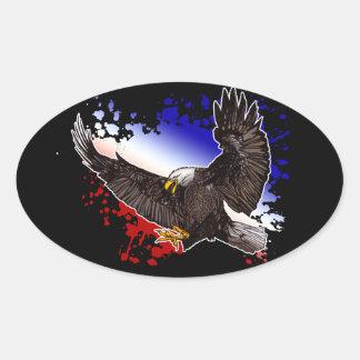 Eagle chauve - rouge, blanc et bleu sticker ovale