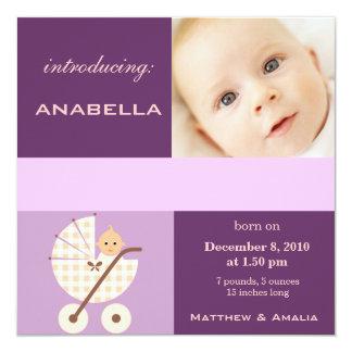 Eben geborenes Baby-Mädchen Quadratische 13,3 Cm Einladungskarte