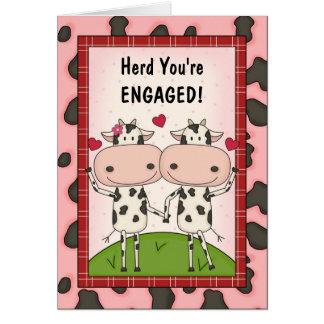 Eben verlobtes lustiges Vieh Karte