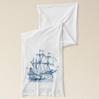 Écharpe nautique de blanc de bleu marine d'ancre