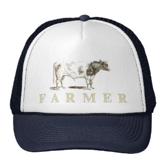 Echte Bauers-Kappe mit großem altem Stier-Logo Netz Caps