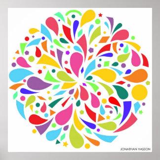 Éclat coloré de forme poster