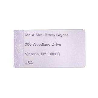 Éclat de lavande de damassé étiquettes d'adresse