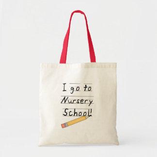 École maternelle rayée de papier et de crayon sac en toile budget