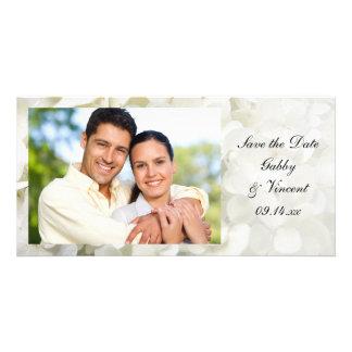 Économies blanches de mariage de fleur d'hortensia photocarte personnalisée
