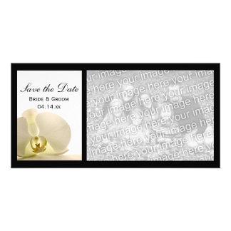 Économies blanches de mariage de fleur d'orchidée carte avec photo