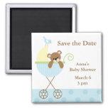 Économies bleues de baby shower d'ours la date magnet carré