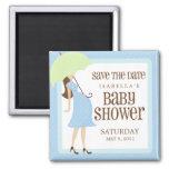 Économies bleues de baby shower la date magnet carré
