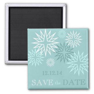 Économies de bleu le magnet de mariage d'hiver de  magnet carré