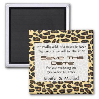 Économies de fourrure de léopard la date magnet carré