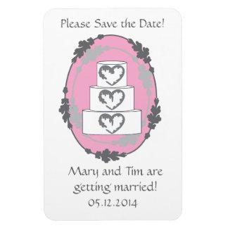 Économies de gâteau de mariage la date magnet rectangulaire avec photo