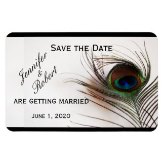 Économies de mariage de charme de plume de paon la magnet en vinyle