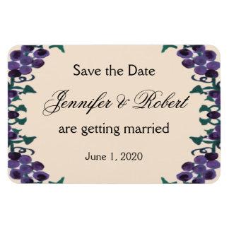 Économies de mariage de guirlande de vigne la date magnet en rectangle