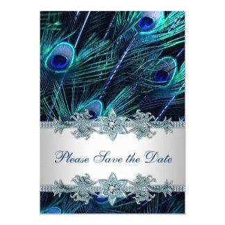 Économies de mariage de paon de bleu royal la date carton d'invitation  12,7 cm x 17,78 cm