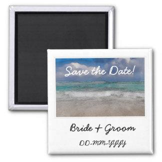 Économies de mariage de plage l'aimant de coutume  magnet carré