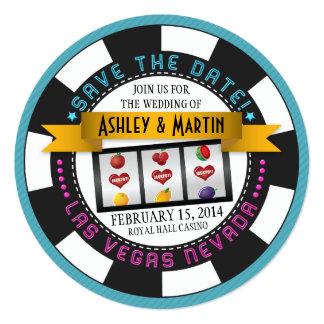 Économies de mariage de Vegas de puce de casino la Carton D'invitation 13,33 Cm