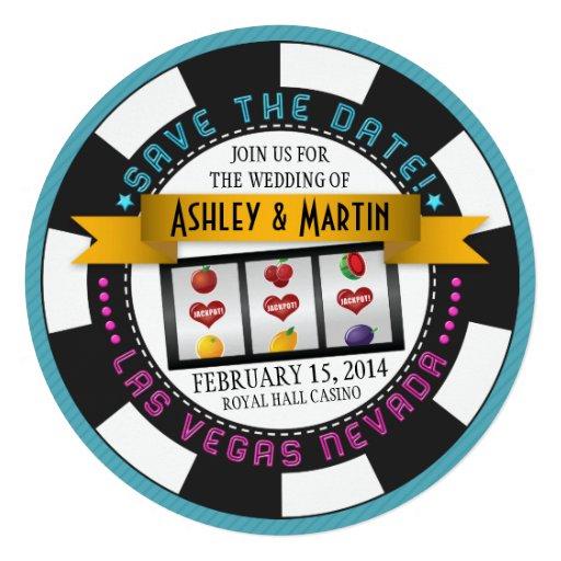 Économies de mariage de Vegas de puce de casino la Cartons D'invitation