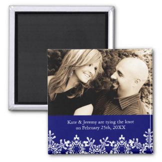 Économies de mariage d'hiver la date magnet carré